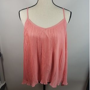 14th & Union Blouse L Pink Spaghetti Strap Pleated
